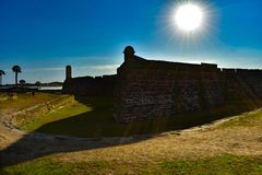 Castillo de San Marcos no fundo bonito do nascer do sol na costa histórica 2 de Florida fotografia de stock royalty free