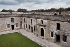 Castillo de San Marcos, the oldest fort in the continental Unite. Spanish architecture in historic Saint Augustine, Florida. A courtyard view of an early spanish Royalty Free Stock Photography