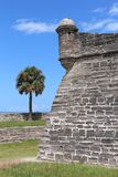 Castillo de San Marcos. The Castillo de San Marcos is the oldest masonry fort in the continental United States. Located on the western shore of Matanzas Bay in stock image