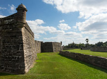 Castillo de San Marcos St Augustine FL. Tower and details of walls of Castillo de San Marcos in St Augustine Florida FL royalty free stock image