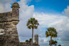 Castillo De San Marcos St. Augustine Florida. With palm trees, clouds, blue sky Royalty Free Stock Image
