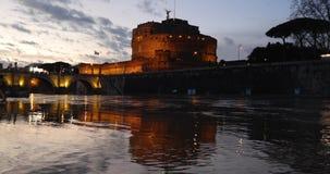 Castillo de Sant Ángel en Roma almacen de metraje de vídeo