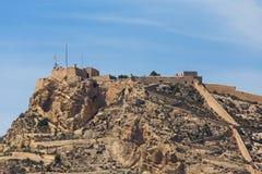 Castillo DE Santa Barbara Alicante Spanje stock foto