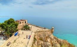 Castillo de Santa Barbara en Alicante, España imagenes de archivo