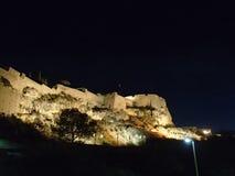 Castillo de Santa Barbara por noche Imagen de archivo