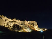 Castillo de Santa Barbara vid natt Fotografering för Bildbyråer
