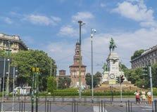 Castillo de Sforza en Milano, Italia foto de archivo