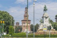 Castillo de Sforza en Milano, Italia imágenes de archivo libres de regalías