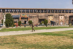 Castillo de Sforza en Milano, Italia Foto de archivo libre de regalías