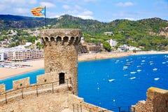 Castillo de Tossa de Mar en Costa Brava de Cataluña Imágenes de archivo libres de regalías