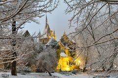 Castillo de Vajdahunyad en la noche Imágenes de archivo libres de regalías
