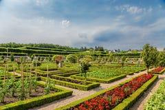 Castillo de Villandry, Francia Vista del jardín ornamental Fotos de archivo