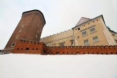 Castillo de Wawel en invierno Imagen de archivo libre de regalías