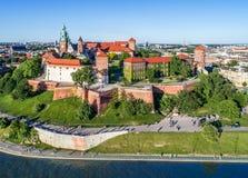 Castillo de Wawel, Kraków, Polonia Panorama aéreo Fotos de archivo libres de regalías