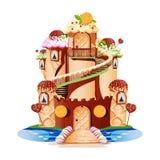 Castillo del cuento de hadas con las torres y un balcón hecho de dulces libre illustration