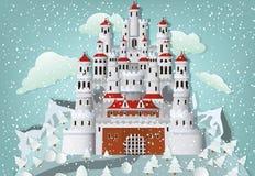 Castillo del cuento de hadas en invierno libre illustration