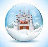 Castillo del cuento de hadas en la esfera de cristal stock de ilustración