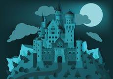 Castillo del cuento de hadas en la noche ilustración del vector