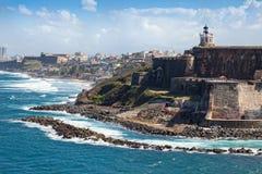 Castillo del EL Morro en San Juan viejo fotos de archivo libres de regalías