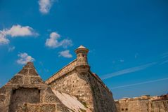castillo del fyr morro Den gammala fästningen cuba havana Fotografering för Bildbyråer