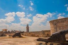 castillo del fyr morro Den gammala fästningen cuba havana Royaltyfria Foton
