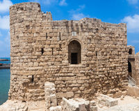 Castillo del mar del cruzado de Sidon en Líbano Foto de archivo