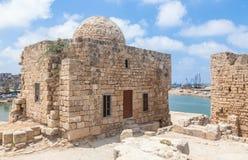 Castillo del mar del cruzado de Sidon en Líbano Foto de archivo libre de regalías