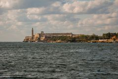 The Castillo Del Morro lighthouse in Havana. View from Malecon waterfront. The old fortress Cuba. The Castillo Del Morro lighthouse in Havana. The old fortress Stock Photos