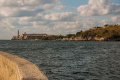 The Castillo Del Morro lighthouse in Havana. View from Malecon waterfront. The old fortress Cuba. The Castillo Del Morro lighthouse in Havana. The old fortress Stock Images