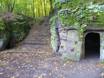 Castillo del ov del ½ del ¿de Valeï y su pueblo de piedra en paraíso bohemio Foto de archivo libre de regalías