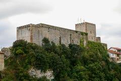 Castillo del rey, Beautiful castle of San Vicente de la Barquera, Cantabria royalty free stock images