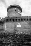 Castillo del sitio de Julio II Ostia blanco y negro imagen de archivo