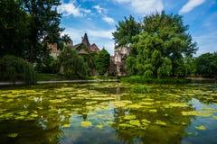 Castillo del vajdahunyad del lago budapest Fotografía de archivo libre de regalías