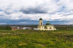 Castillo e iglesia de Khotyn una hermosa vista foto de archivo