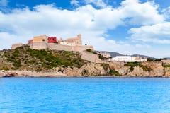 Castillo e iglesia de la ciudad del ibiza de Eivissa Foto de archivo libre de regalías