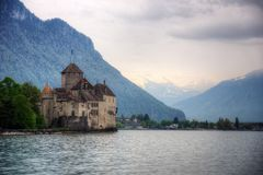 Castillo el lago Lemán de Chillon fotografía de archivo libre de regalías