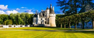 Castillo elegante de Chenonceau - castillos hermosos del valle del Loira adentro fotos de archivo