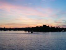 Castillo en colores pastel en el cielo Fotografía de archivo libre de regalías
