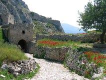 Castillo en Corinth en Grecia Imagen de archivo libre de regalías