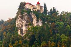 Castillo en el lago sangrado, Eslovenia Imagen de archivo