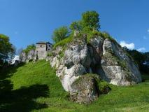 Castillo en el ³ w de Ojcà Imágenes de archivo libres de regalías