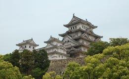 Castillo en Hiimeji con los árboles, Kansai, Japón Imagen de archivo