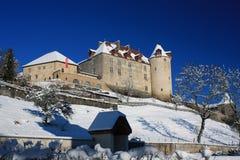 Castillo en invierno, Suiza del gruyere Foto de archivo