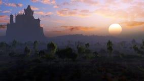 Castillo en la niebla de la puesta del sol Imagen de archivo libre de regalías