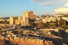 Castillo en la puesta del sol, Líbano del cruzado de Byblos Foto de archivo libre de regalías