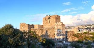 Castillo en la puesta del sol, Líbano del cruzado de Byblos Fotos de archivo libres de regalías