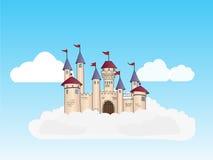 Castillo en las nubes en el cielo stock de ilustración