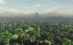 Castillo en Misty Horizon Imágenes de archivo libres de regalías