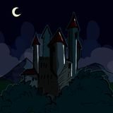 Castillo espeluznante en la noche ilustración del vector