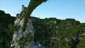 Castillo fantsay viejo en un alto acantilado, roca Silueta del hombre de negocios Cowering Paisaje fabuloso almacen de video